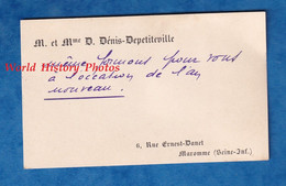 Carte De Visite Ancienne - MAROMME - Monsieur & Mme D. Dénis Depetiteville 6 Rue Ernest Danet - 1949 - Généalogie - Visiting Cards