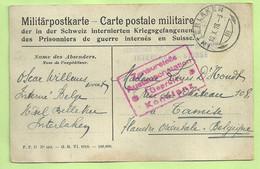 """Kaart Verzonden """"Interne Belge"""" ,stempel INTERNEMENT DES PRISONNIERS DE GUERRE / INTERLAKEN-SUISSE Naar TAMISE (197) - Belgisch Leger"""