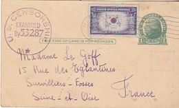 VIL20- MENASHA AU USA  CARTE  LETTRE  POUR LA FRANCE  SURVILLIERS FOSSES  TAMPON U S CENSORSHIP EXAMINED 53287 - Postal History