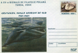 ROMANIA 2004: WHALES, WHALING, POLAR ASPECTS, Unused Prepaid Cover 078/2004 - Registered Shipping! - Entiers Postaux