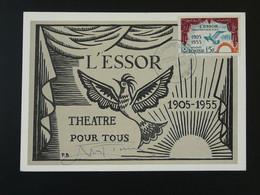 Carte Maximum Card Théatre L'Essor Oiseau Bird Decaris Tunisie 1955 - Lettres & Documents