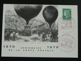 Carte Commemorative Card Départ De Gambetta En Montgolfière Guerre De 1870 Dole 39 Jura 1970 (cachet Rouge) - Montgolfier