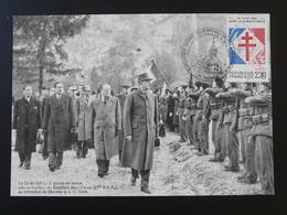 Carte Maximum Card Général De Gaulle Revue Du Bataillon Des Glières Thones 74 Haute Savoie 1990 (ex 2) - De Gaulle (Generaal)