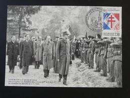 Carte Maximum Card Général De Gaulle Revue Du Bataillon Des Glières Thones 74 Haute Savoie 1990 (ex 1) - De Gaulle (Général)