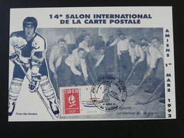 Carte Commemorative Card Hockey Sur Glace Ice Hockey Jeux Olymiques D'Hiver Amiens 80 Somme 1992 - Hockey (Ijs)