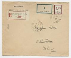 SANS VALEUR  2+0.15 LETTRE COVER REC C. PERLE COURS REC PARIS 16.11.1938 POUR JURA - 1921-1960: Modern Period