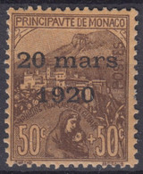 MONACO : ORPHELINS DE GUERRE SURCHARGE N° 41 NEUF * GOMME AVEC CHARNIERE - Unused Stamps