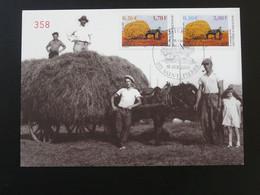 Carte Maximum Card Fenaison Agriculture Cheval Horse Saint-Pierre Et Miquelon 2001 - Cartes-maximum