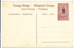 Congo Belge - Entier Postal 10 Centimes Surcharge 15 Centiemes En Carte Postale. Nr. 32 - Stamped Stationery