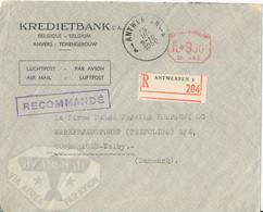 Belgium Registered Bank Cover With Meter Cancel Antwerpen 9-3-1950 Sent To Denmark (Kredietbank) - Covers & Documents