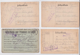 Carte Postale Prisonnier De Guerre Français Poulain Jules Creil Holzminden Lager Camp Lot 4 Cartes Censure Franchise POW - Guerra De 1914-18