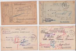 Carte Postale Prisonnier De Guerre Poulain Jules Creil Celle Lager Camp Hannover Lot De 4 Cartes Censure Franchise POW - Guerra De 1914-18