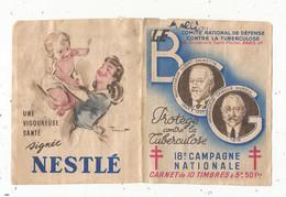 JC , Carnet De 10 Timbres , Comité National De Défense Contre La Tuberculeuse , 18 E Campagne Nationale , 1948 - Tegen Tuberculose