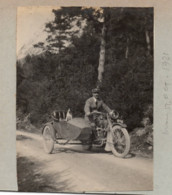 Moto Side-car 1921 - Photo 8x10cm Collée Sur Carton - Homme Avec Chien - Cars