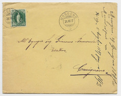 HELVETIA SUISSE 25C VERT SEUL LETTRE COVER MOSOGNO 30.VI.1897 TO ITALIA - Covers & Documents