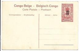 Congo Belge - Entier Postal 10 Centimes Surcharge 15 Centiemes En Carte Postale. Nr. 71 - Stamped Stationery