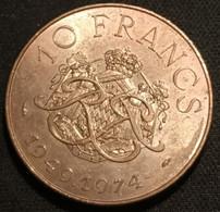 RARE - MONACO - 10 FRANCS 1974 - Rainier III - 25éme Anniversaire De Règne - KM 151 - ( 25 000 Ex. ) - 1960-2001 New Francs