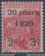 MONACO : ORPHELINS DE GUERRE SURCHARGE N° 34 NEUF * GOMME AVEC CHARNIERE - Unused Stamps