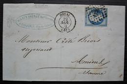 Corbehem Pas De Calais 1861 Gracy Frères, Raffinerie De Sucre, Cad Douai Lettre Pour Amiens - 1849-1876: Période Classique