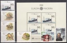 MADEIRA  Jahrgang 1988, Postfrisch **, 118-124 + Block 9 - Madeira