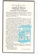 DP Emelie Huys ° Machelen 1857 † Petegem Ad Leie Deinze 1937 X August Van Vynckt - Images Religieuses