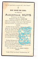 DP Augustinus Huys ° Machelen 1872 † Gent 1934 X Augusta Cozyns - Images Religieuses