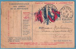Carte FM De COUTANCES/I9I5 Pour POSTES MILITAIRES BELGIQUE ( Train Sanitaire ) à Calais + Cachet Hôpital - Belgisch Leger