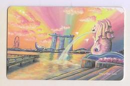 Singapore Travel Transport Card Subway Train Bus Ticket Ezlink Used Merlion Marina Bay Sands - Wereld