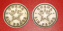 • GREAT BRITAIN: GHANA ★ 6 PENCE 1958 BALD AND HAIRY TYPES! LOW START ★ NO RESERVE! - Alla Rinfusa - Monete