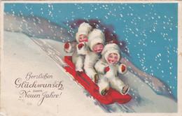 DC1812- Ak Neujahrsgrüße Kinder Schlitten Schnee Winter - Anno Nuovo