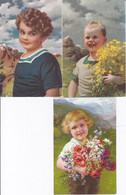 DC580- Ak Kinder 3 Karten Lot Jungen Mädchen Kleine Kinder Blumen Lächeln Berge Alpen - Szenen & Landschaften