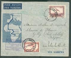 Lettre Par Avion ELISABETHVILLE BRUXELLES SABENA 23-11-1935 Affr. Mixte BELGIQUE CONGO BELGE Aller RetourTB - 18314 - Luchtpost