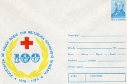 ROMANIA 1976: RED CROSS SOCIETY - 100 YEARS, Unused Prepaid Cover 120/1976   - Free Shipping! - Entiers Postaux