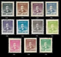 CHINE  1949 - YT 724 à 735  - Sun Yat Sen  - NEUFS** - Lithographiés  Impression Fine De Shangai - Dent 12,5 - 1912-1949 Republic