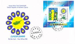 Turkish Cyprus FDC 2000 Europa CEPT Souvenir Sheet (G132-13) - 2000