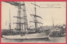 """CPA-Rouen-1910* Le """"POURQUOI PAS ?"""" Du Commandant CHARCOT Sous Le Pont-Transbordeur* TOP**Scan Recto/Verso - Demonstrations"""