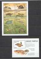 XX669 MALDIVES GREEN TURTLES ANIMALS FAUNA MARINE LIFE REPTILES 1KB+1BL MNH - Schildpadden