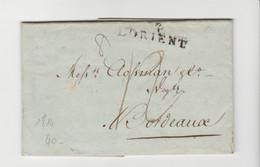 MORBIHAN: L'ORIENT, Linéaire 40 X 10 Mm, Pds 8 Gr, TM 12 / LAC De 1814 Pour Bordeaux - 1801-1848: Precursores XIX