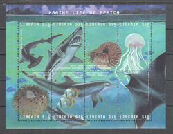 YY716 ONLY ONE IN STOCK LIBERIA FAUNA FISHES SHARKS DOLPHINS MARINE LIFE OF AFRICA 1KB MNH - Vita Acquatica
