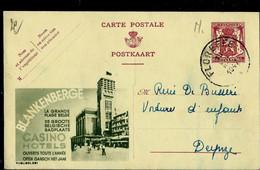 Publibel Obl. N° 691  Verte ( BLANKENBERGE - Casino - Hôtels ) Obl. FLOREFFE 1947 - Publibels