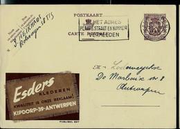 Publibel Obl. N° 827  ( ESDERS  - Klederen - Antwerpen) Obl. ANTWERPEN 1949 - Publibels