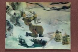 Vintage USSR 3D Stereo Lenticular Postcard 1983 Russian Winter Fairy Tale. Magic Pike. Guy EMELYA. Ice Hole - Fiabe, Racconti Popolari & Leggende