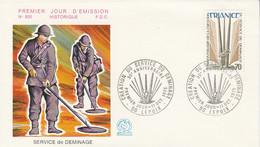 FDC 1975 SERVICE DE DEMINAGE - 1970-1979
