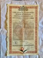 Caisse Autonome Des Monopoles Du ROYAUME De ROUMANIE --------Obligation  De 100$  7 1/2% - Unclassified