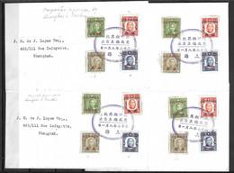 Chine/China Quatre Belles Lettres Entières Occupation Japonaise Shangaï/Nankin 1943/1945. TB. A Saisr! - 1943-45 Shanghai & Nanjing