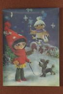 Vintage USSR Russian 3D Stereo Lenticular Postcard 1984 New Year Winter Fairy Tale. Flight Boy Frantishek. Girl. Dog - Fiabe, Racconti Popolari & Leggende