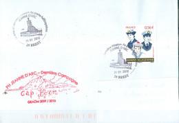 MARCOPHILIE - PH Jeanne D'Arc, Campagne 2009-2010, Passage Du Cap Horn, Oblit. Manuelle JDA, 25-01-2010, Marins De La Je - Correo Naval