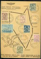 Belgie 1950 Speciale Kaart 1e Postdienst Per Hefschroefvliegtuig SANENA OPB PA25, 420, 422, 710, 424, 479, 426 2n 527 - Airmail