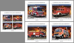 MOZAMBIQUE 2021 MNH Fire Engines Feuerwehr Fahrzeuge Camions De Pompiers M/S+4S/S - OFFICIAL ISSUE - DHQ2125 - Bombero