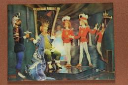 "Vintage USSR 3D Stereo Lenticular Postcard Yerevan 1988 Fairy Tale ""Kingdom Of Crooked Mirrors "" Twin Girls As Page Boys - Fiabe, Racconti Popolari & Leggende"